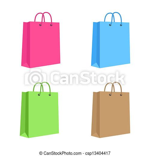 handles., brown., cor-de-rosa, set., em branco, corda, saco, vetorial, papel, verde, shopping, isolado, azul - csp13404417