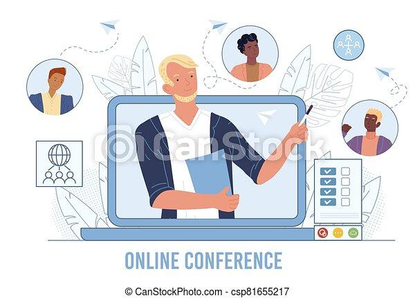 handlowa konferencja, przyjaciele, online, video, spotkanie - csp81655217