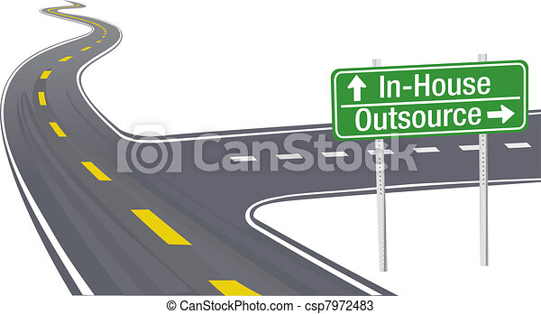 handlowy, łańcuch, dostarczać, decyzja, outsource, inhouse - csp7972483