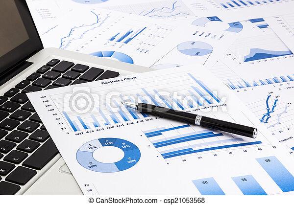 handlowy błękitny, pióro, wykresy, statystyczny, wykresy, laptop - csp21053568