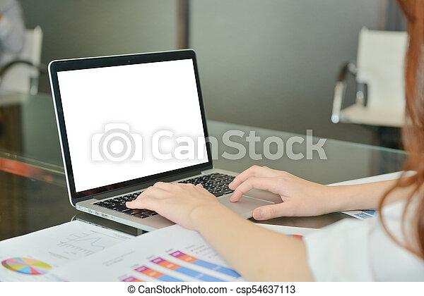 handlowy, obrazy, laptop, nowoczesny, wykresy, okienko osłaniają - csp54637113