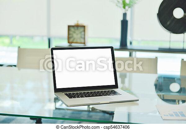 handlowy, obrazy, laptop, nowoczesny, wykresy, okienko osłaniają - csp54637406