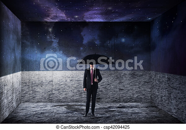 handlowy, parasol, asian, dzierżawa, człowiek - csp42094425