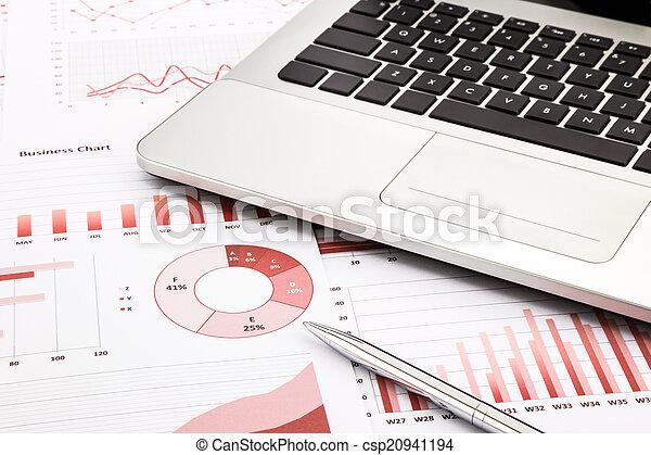 handlowy, pióro, infomation, wykresy, czerwony, wykresy, laptop - csp20941194