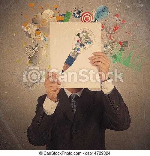 handlowy, pokaz, współudział, osłona, ręka, książka, czarnoskóry, biznesmen - csp14729324