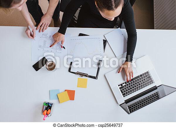 handlowy, pracujący, laptop, plan, drużyna, nowy - csp25649737
