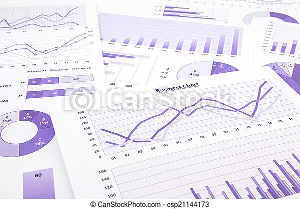 handlowy, purpurowy, wykresy, wstecz, wykresy, summarizing, zameldować, dane - csp21144173