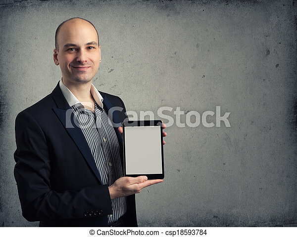handlowy, tabliczka, ekran, cyfrowy, pc, dzierżawa, czysty, człowiek - csp18593784