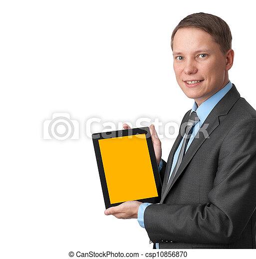 handlowy, tabliczka, ekran, komputer, dzierżawa, czysty, człowiek - csp10856870