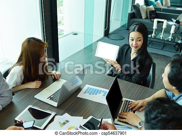 handlowy, tabliczka, pokaz, asian, czysty, dziewczyna, ekran - csp54637901