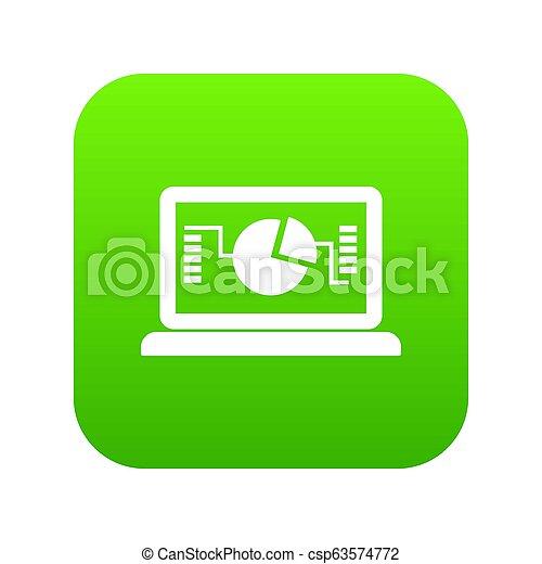 handlowy, wykres, laptop, zielony, cyfrowy, ikona - csp63574772