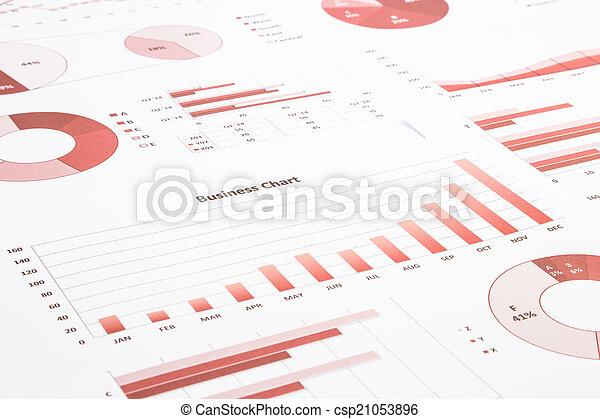 handlowy, wykresy, roczny, wykresy, summarizing, zameldować, backg, czerwony - csp21053896