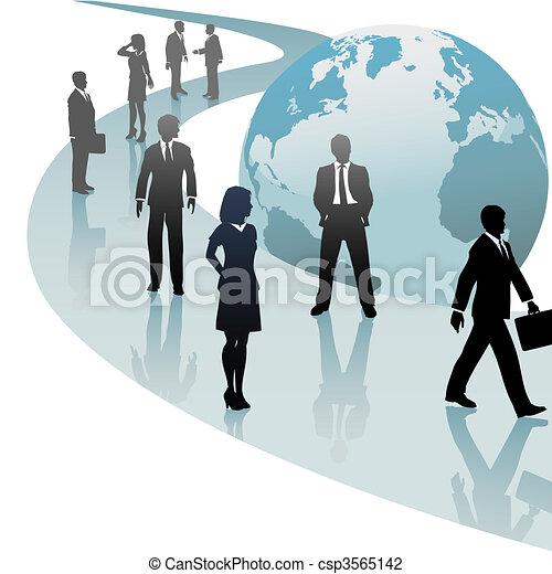 handlowy zaludniają, przyszłość, postęp, świat, ścieżka - csp3565142