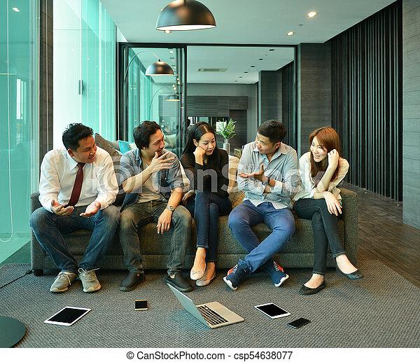 handlowy zaludniają, wpływy, wyposażenie, bez, teamwork, asian, każdy, technologia, inny - csp54638077
