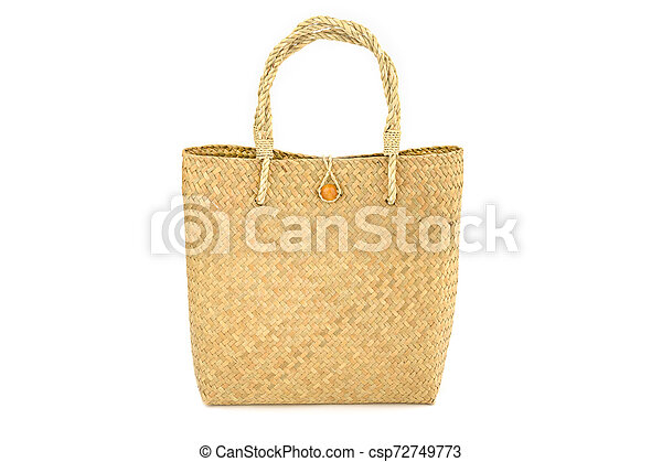 Handmade bag made from dried water hyacinth isolated on white background, Basketry water hyacinth, Beautiful water hyacinth basketry - csp72749773