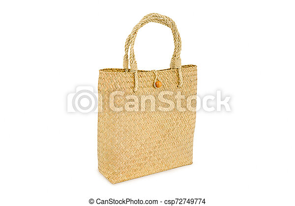 Handmade bag made from dried water hyacinth isolated on white background, Basketry water hyacinth, Beautiful water hyacinth basketry - csp72749774