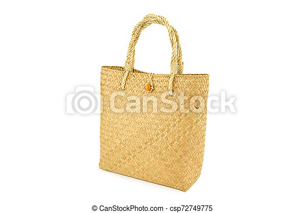 Handmade bag made from dried water hyacinth isolated on white background, Basketry water hyacinth, Beautiful water hyacinth basketry - csp72749775