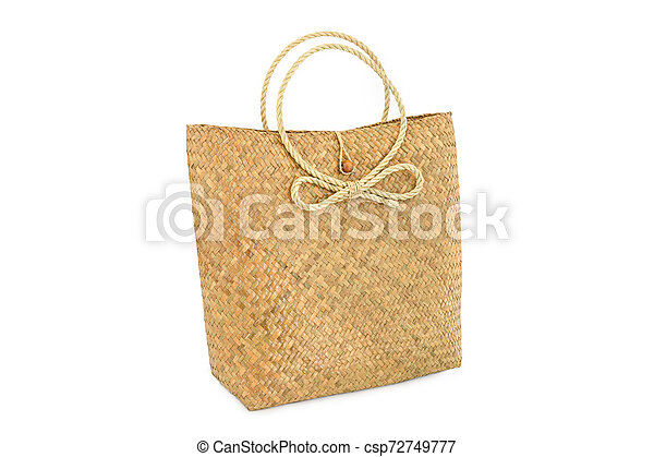 Handmade bag made from dried water hyacinth isolated on white background, Basketry water hyacinth, Beautiful water hyacinth basketry - csp72749777