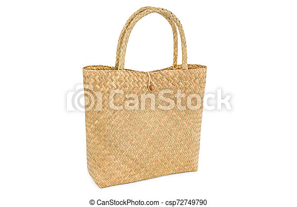 Handmade bag made from dried water hyacinth isolated on white background, Basketry water hyacinth, Beautiful water hyacinth basketry - csp72749790