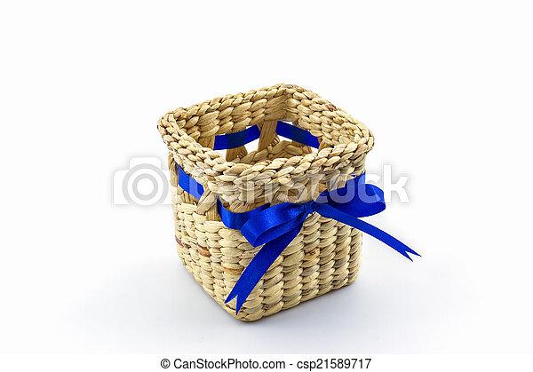 Handmade box made from dry water hyacinth decoration, Hand craft - csp21589717