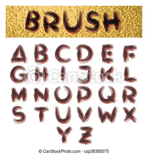 Handmade Brush Alphabet - csp38385075