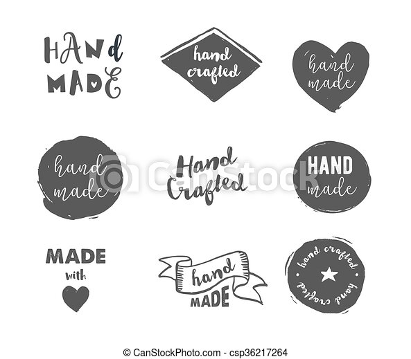 Handmade, crafts workshop, made with love icons - csp36217264