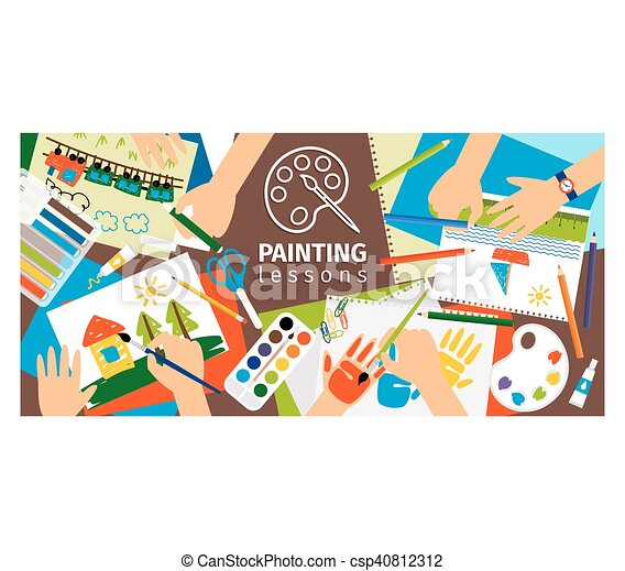 Handmade Creative Kids Banner Creative Process Painting Lessons