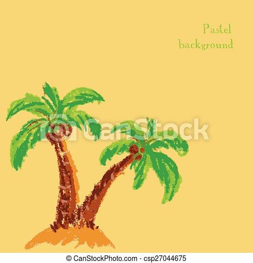 handmade drawing pastel chalks palm tree background - csp27044675