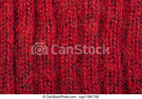Handmade knit red background - csp11961760