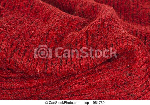 Handmade knit red background - csp11961759