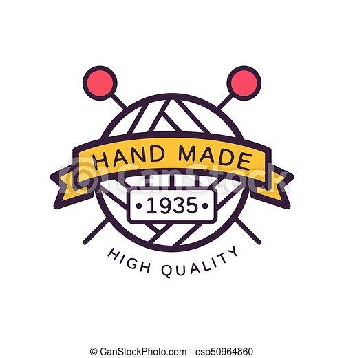 Handmade Logo Template High Quality Since 1935 Retro Needlework Craft Badge Knitting And Crochet
