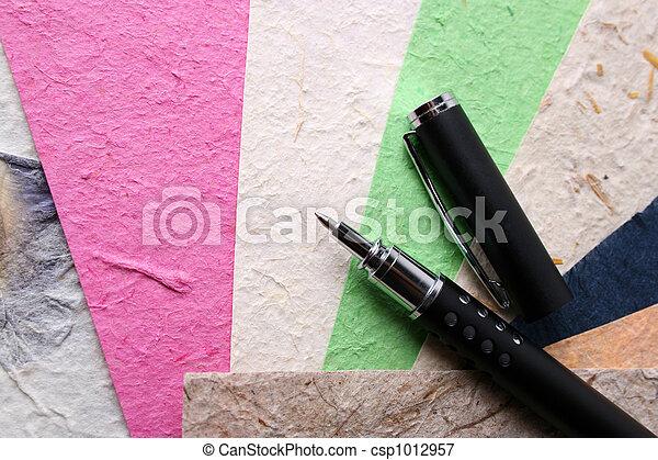Handmade Paper and Pen - csp1012957