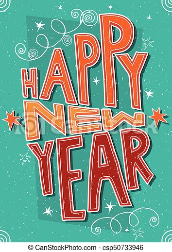 Handmade Postcard Happy New Year Greeting Card With Lettering Happy New Year International Postcard Format 105 148