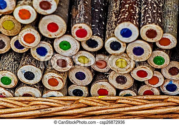 Handmade rustic colored pencils 1 - csp26872936