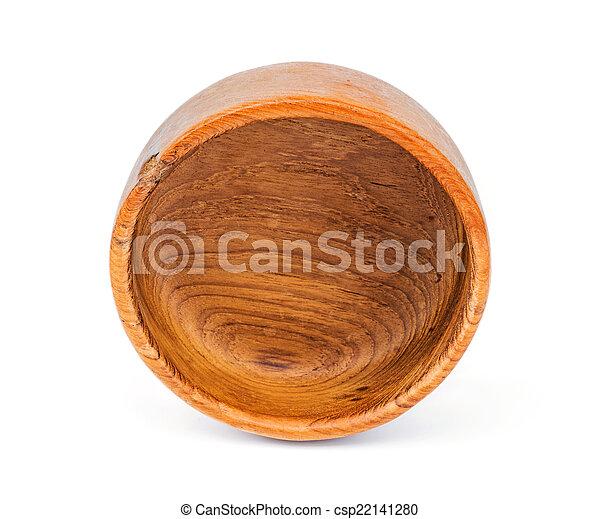 Handmade teak wooden bowl isolated on white background - csp22141280