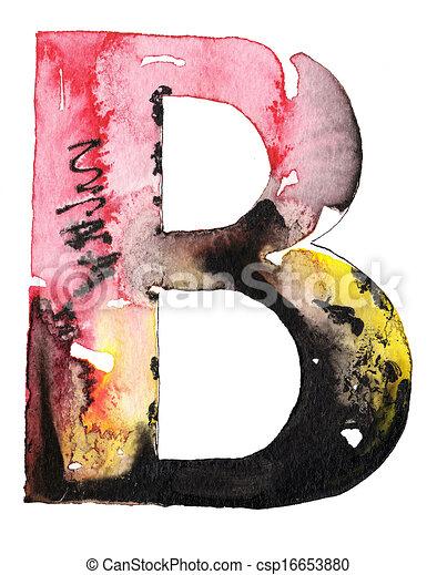 handmade watercolor alphabet design - csp16653880