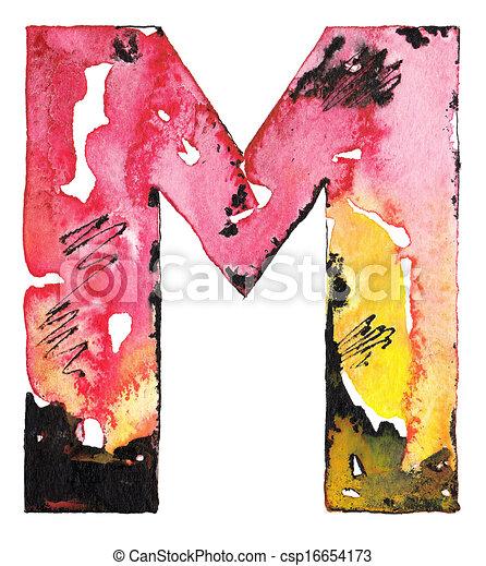 handmade watercolor alphabet design - csp16654173