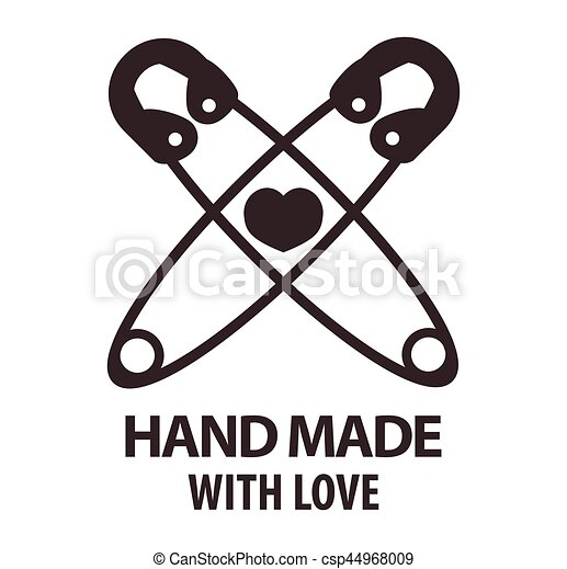 Handmade With Love Logotype Design Of Two Crossed Pins