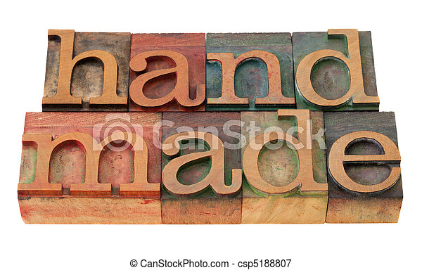 handmade word in letterpress type - csp5188807