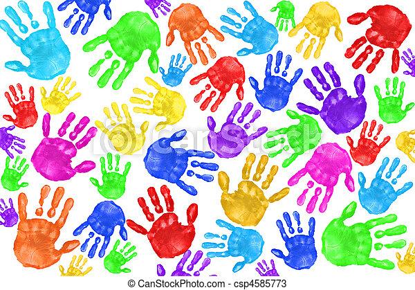 Huellas de mano pintadas de niños - csp4585773