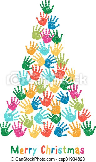 handprint christmas tree  vector colorful christmas tree Handprint Clip Art Black and White Baby Handprint Clip Art Free