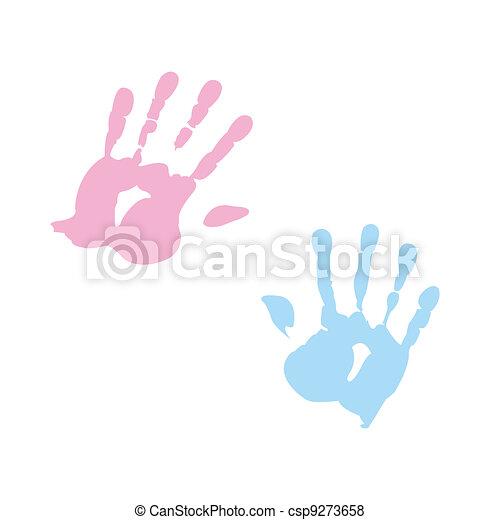 handprint of girl and boy - csp9273658