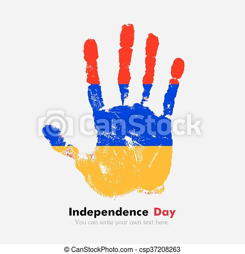 Handprint with the Armenian flag in grunge style - csp37208263