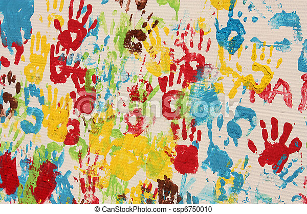Handprints in different colors in a mural. - csp6750010
