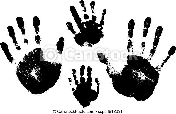 Handprints Of A Man Woman Child Vector Silhouette On White Background