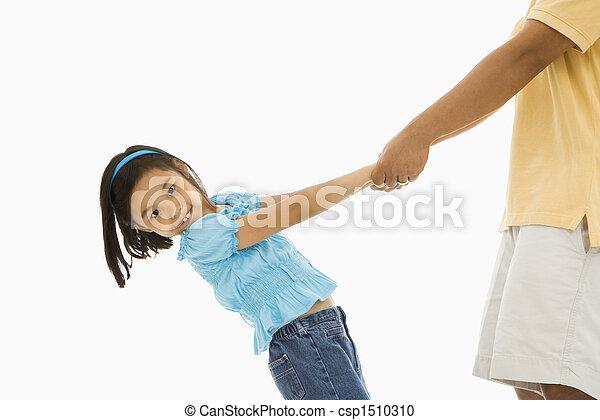 hands., 女の子, 保有物, 父 - csp1510310