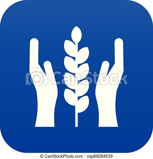Hands and ear of wheat icon digital blue - csp69284539
