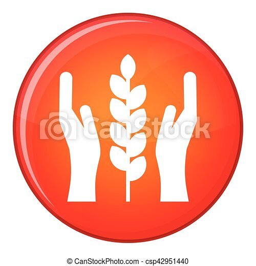 Hands and ear of wheat icon, flat style - csp42951440