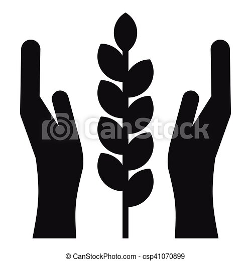 Hands and ear of wheat icon, simple style - csp41070899