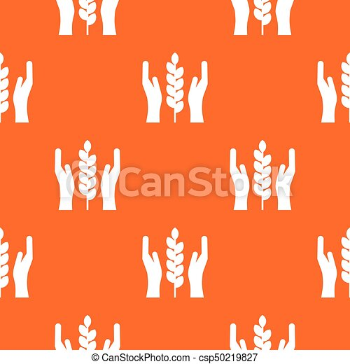 Hands and ear of wheat pattern seamless - csp50219827
